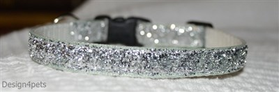 silver breakaway sparkling unique handmade cat collar