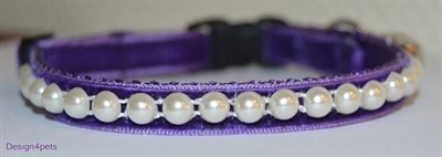 purple breakway handmade velvet cat collar