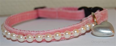 pink velvet breakaway unique handmade cat collar