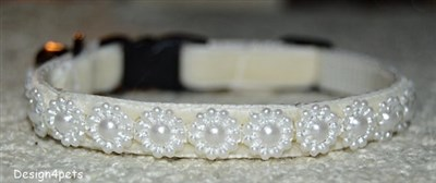 pearl cream breakaway handmade cat collar