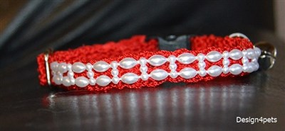 crochet cat collar red breakaway unique handmade