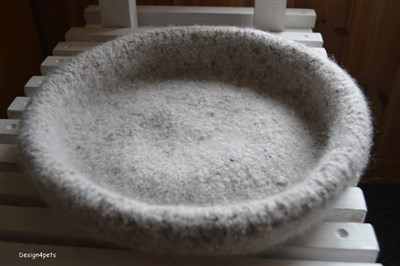 gray wool cat bed